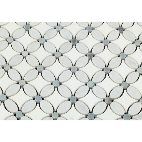 Thassos White Marble Honed Florida Flower Mosaic Tile W Blue Gray Dots Mosaic Flowers Mosaic Tiles Shower Tile
