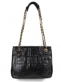 Chanel Crocodile Leather Chained Bag In Black $3420