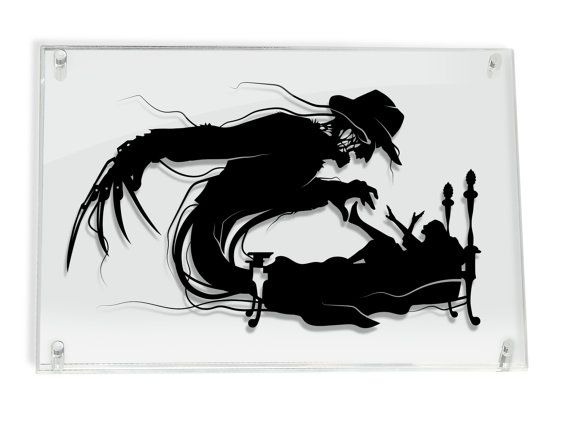 Freddy Krueger Nightmare on Elm Street silhouette handcut paper craft from one black sheet SIZE: 14x20 (I receive a lot of requests to add things to my pieces for personalization - please understand its something I dislike doing because it isnt merchandise, and it takes away from my intended illustration, design and composition of the artwork. I will no longer take these requests. I do take custom commission requests, but not personalizations of my current artwork. Thank you for…