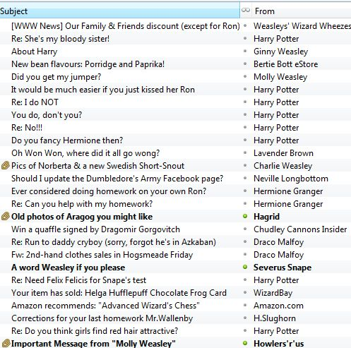 Heh heh Ron Weasley's inbox :)  LOL, I even tried to click and open a few of these!