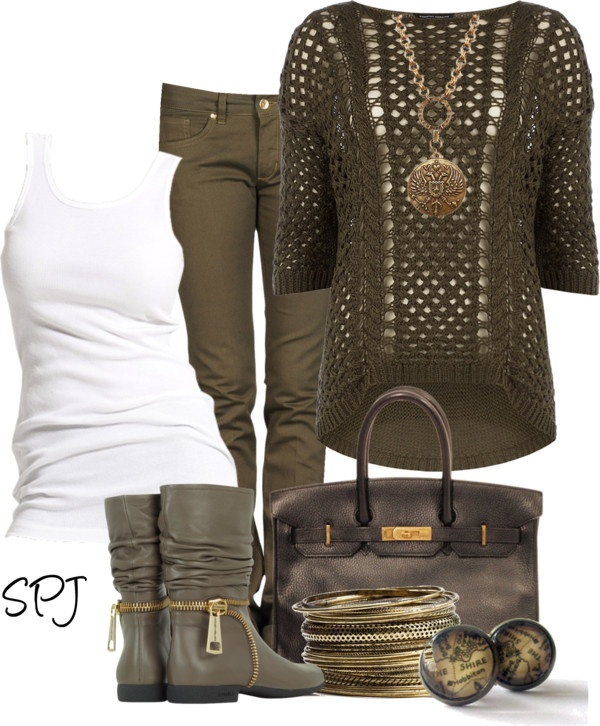 """""""Green with Envy"""" by s-p-j on Polyvore like it all but maybe the sweater in a diff color for this outfit"""