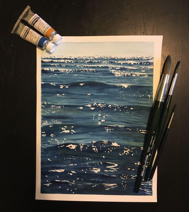 Aquarel watercolour painting of waves