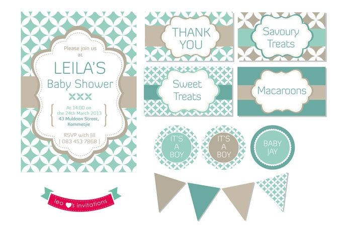 Modern Pattern Baby Shower Printable by Leo Loves Invitations on hellopretty.co.za