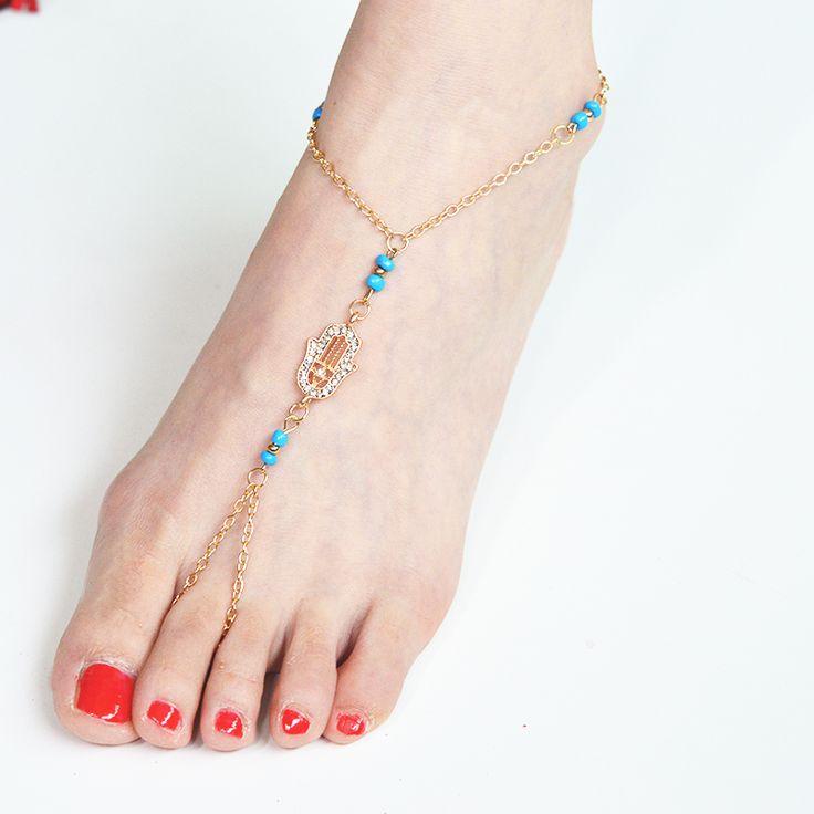 Chic Boho Jewelry Fatima Hamsa Hand Charm HAMSA Barefoot Sandals Foot Jewelry Hippie Sandals Toe Ring Anklet Crochet