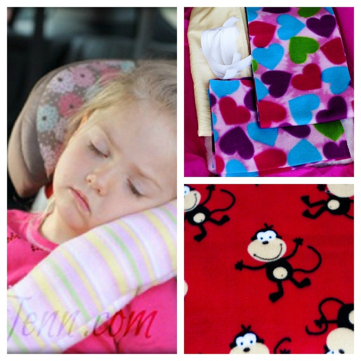 Make a seat belt pillow for your kids.  DIY Kit comes with Red Monkey pattern fleece for cover cut to size, Velcro, fabric and stuffing for pillow insert cut to size and a printed pattern  - Child's Original Seat Belt Pillow (Red Monkeys - Fleece). $15.00, via Etsy.