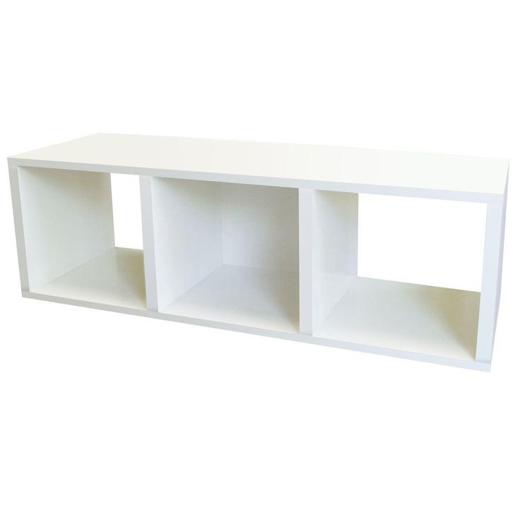 3 Cubby ZBoard Storage Organizer, Tool Free Assembly Stackable Bookcase In  Pearl White