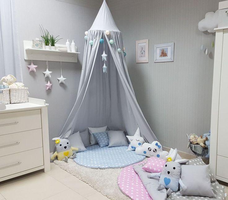 Babymajawelt® Betthimmel Baldachin Grau XXL Stars (Sterne