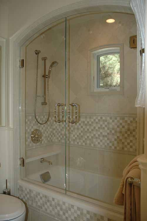 shower arch ceiling Arched pair of swinging shower doors