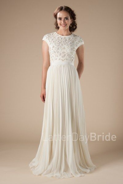 Modest Wedding Dresses At Latter Day Bride The Avery With Pleated Skirt And Beaded Bodice