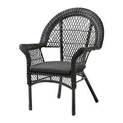 IKEA - LÄCKÖ, Sessel mit Kissen/außen, Handgeflochtenes Kunstrattan wirkt wie Naturrattan, ist aber für die Benutzung im Freien besser geeignet.Sommermöbel aus pflegeleichtem Material.Leicht zu reinigen - einfach feucht abwischen.Abnehmbare, waschbare Bezüge; leicht sauber zu halten.