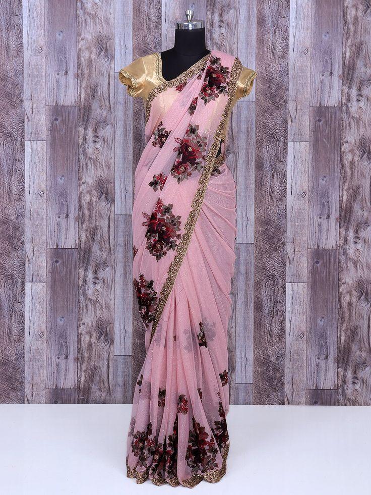 Designer Party Wear Pink Net Saree, Net saree in thread work, party saree,