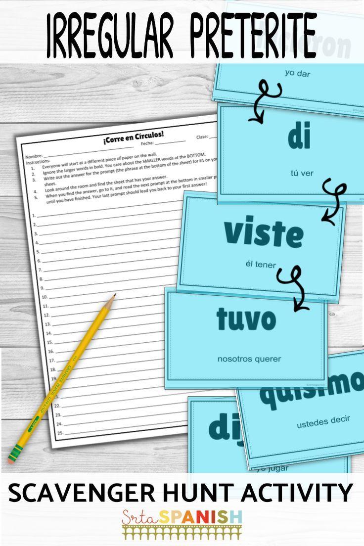 Irregular Preterite Verbs Corre En Circulos Activity With Digital Option High School Spanish Spanish Students Spanish Lesson Plans [ 1104 x 736 Pixel ]