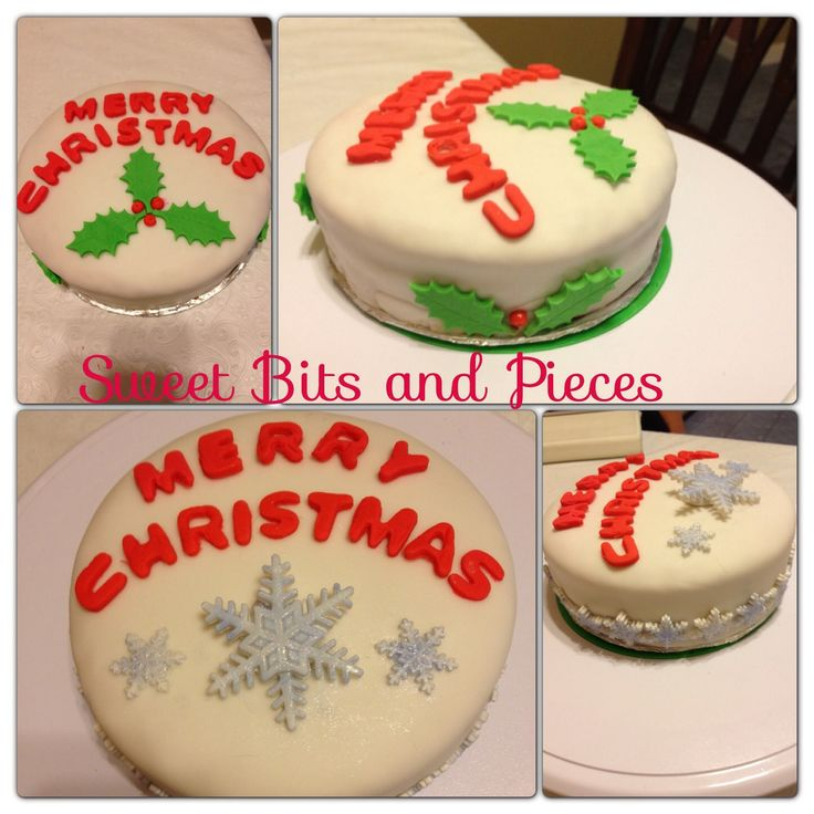 Christmas - 6x2 inch Puerto Rican Style Cakes wet with brandy, filled with guava, all handmade fondant decorations. #sweetbitsandpieces