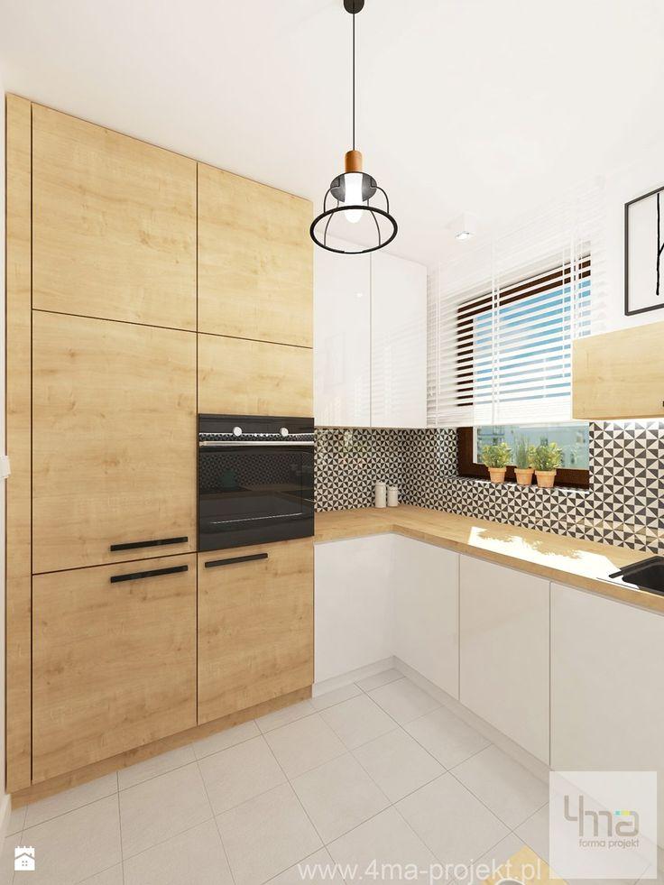 Projekt mieszkania w Wilanowie, pow. 52 m2 - Kuchnia, styl skandynawski - zdjęcie od 4ma projekt