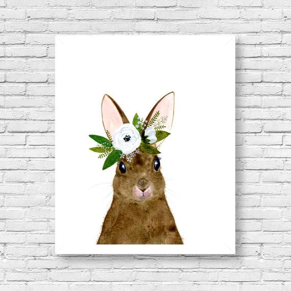 Watercolor rabbit, rabbit painting, Woodland Nursery, Animal Paintings, Deer, Animal Wall Art, Childrens Wall Decor, Kids Art, bunny
