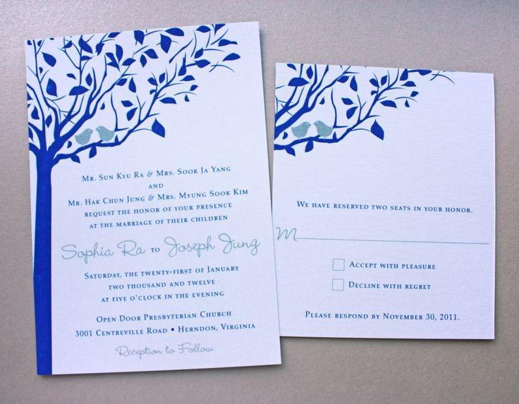 Royal Blue U0026 Silver Love Birds In A Tree Wedding Invitations On Metallic  White