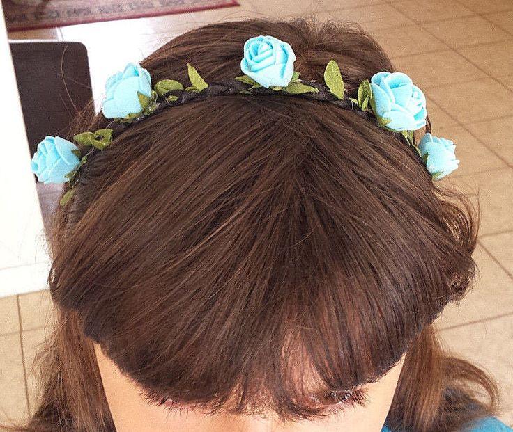 Blue Flower Headband Braided Crown Hair Elastic Boho Hippie Hair Band Fashion  #HandmadewithLove #Headbands