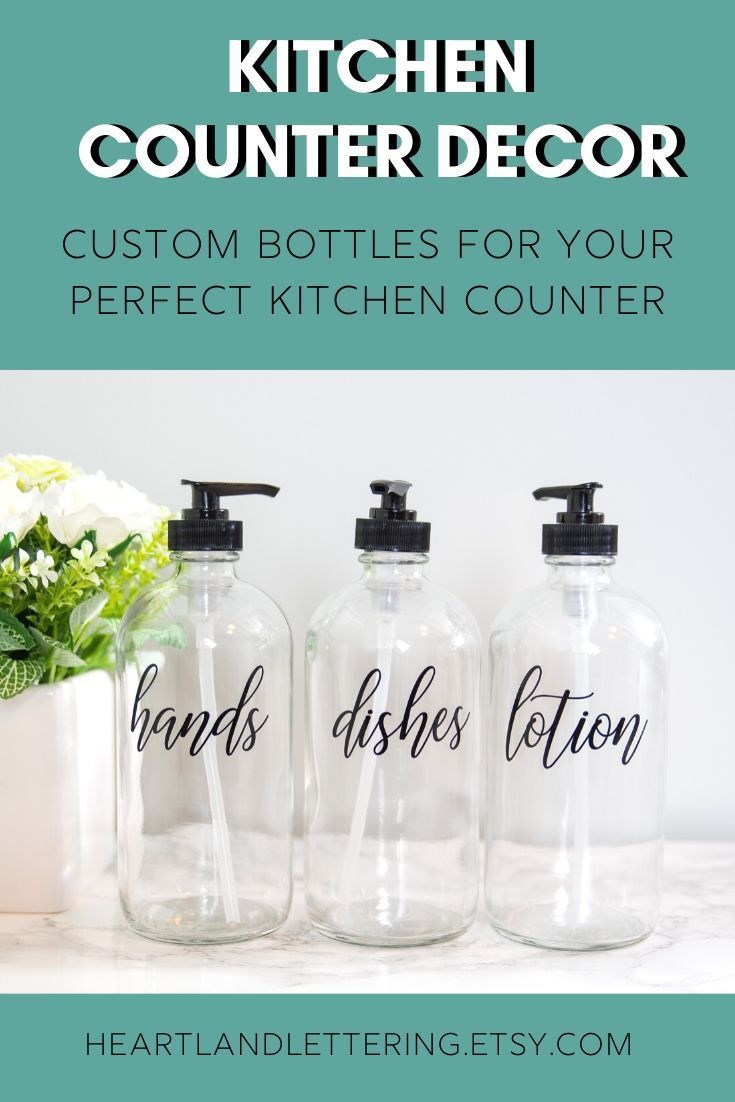 Hands Dishes Lotion Clear Glass Soap Dispenser Set Farmhouse Etsy Dish Soap Dispenser Glass Soap Dispenser Kitchen Soap Dispenser