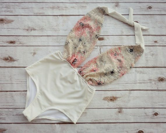 Swimsuit High Waisted Vintage Style - Sparkle Cream Pink Floral Sequin One Piece Retro Pin-up Bathing Suit Swimwear - Spring Break Honeymoon