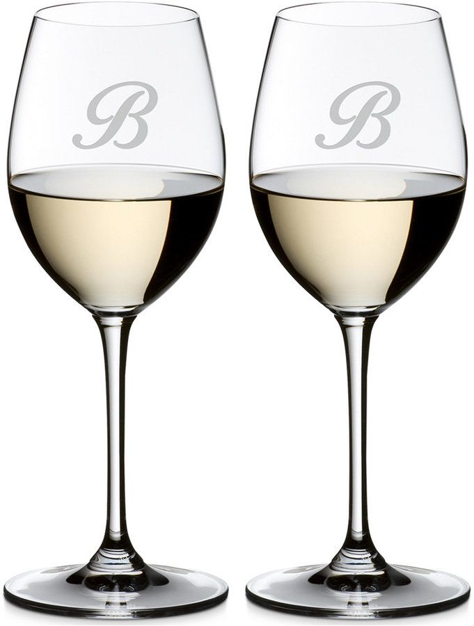 Riedel Vinum Monogram Collection 2-Pc. Script Letter Sauvignon Blanc Wine Glasses