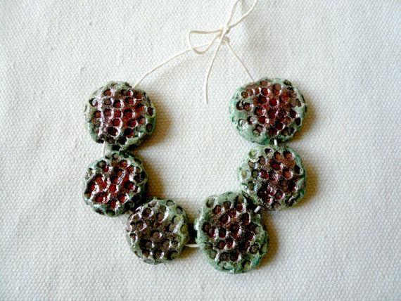 perline ceramica raku - perline raku rotonde - perline ceramica rotonde e piatte - perline fatte a mano - perline per collana - perline