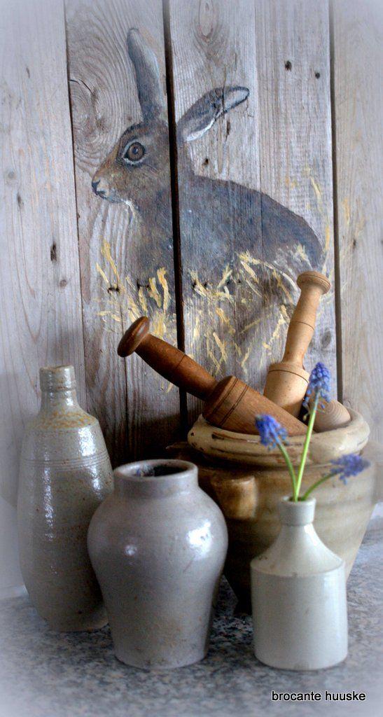 Hare painting Brocante Huuske | Landelijk Brocante, Engels Wonen, de Hollandse Keuken, een beetje Chique. Ieder is uniek,