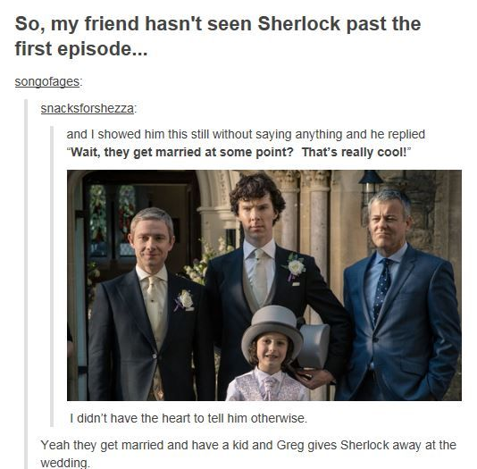 Sherlock and John apparently get married and Lestrade gives Sherlock away.