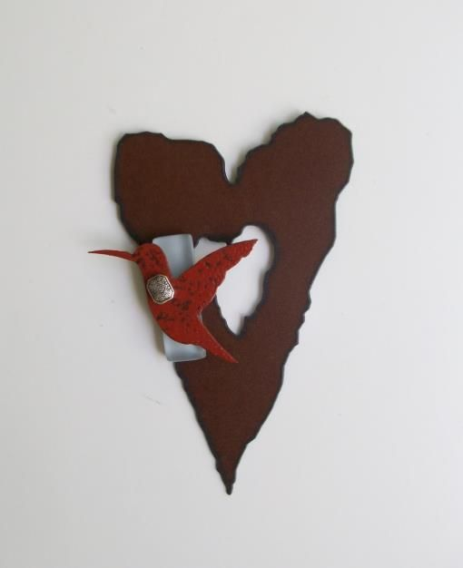 Redford Designs Made In Texas Rustic Heart With Hummingbird Wall Art