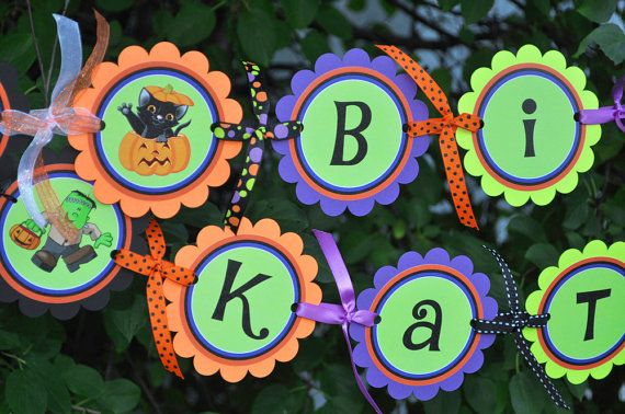 Halloween Happy Birthday Banner  Halloween or by sosweetpartyshop, $35.00