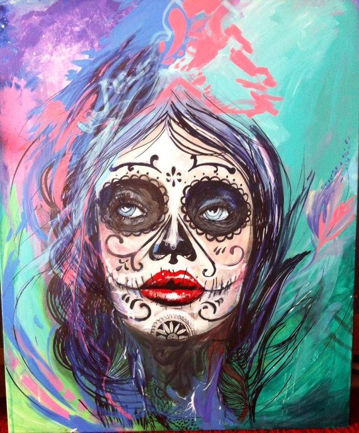 """Madame muerta"" by Dagmara Rybak Acrylic on canvas; 100 x 80 cm; Pop Art; 2014.  See more of Dagmara's art http://www.studentartworks.org/author/dagmara-rybak/  Work will be exhibit during exhibition in October 2014. Soon more details."