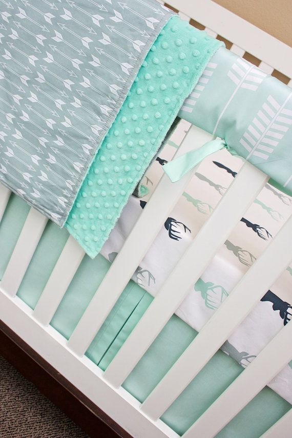 Mint and Navy Deer Baby Bedding Rail Guard by modifiedtot on Etsy