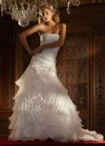 David's Bridal Wedding Dress: Organza Gown with Pleated Tier Skirt and Lace Style SWG473