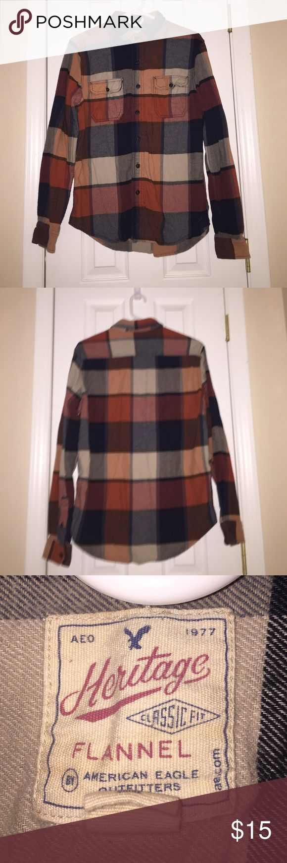 ✨American Eagle Outfitters Flannel/Button Up✨ ✨Been worn a few time. ✨Looks very vintage. ✨Nice quality. ✨Deals are negotiable. American Eagle Outfitters Shirts Casual Button Down Shirts