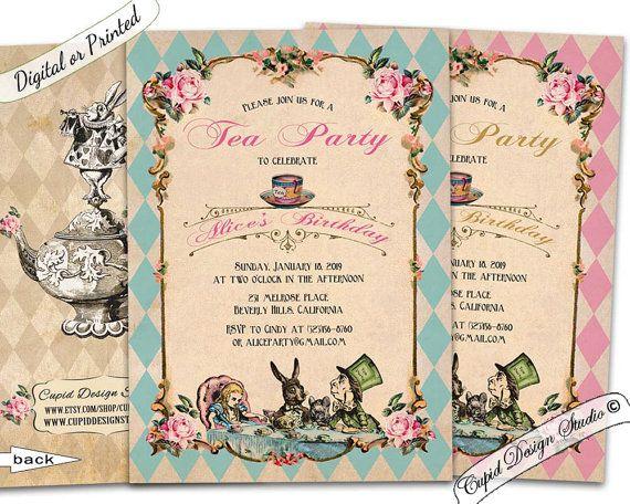 Alice in wonderland invitation printable/Alice and wonderland invitation/Mad hatter invitations/Alice in wonderland invite. Tea party. - - - - - - -