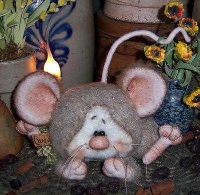 "Primitive Fuzzy Baby Mouse Bear Shabby 4.5"" Chic Doll Vtg Patti's Ratties Ornie"
