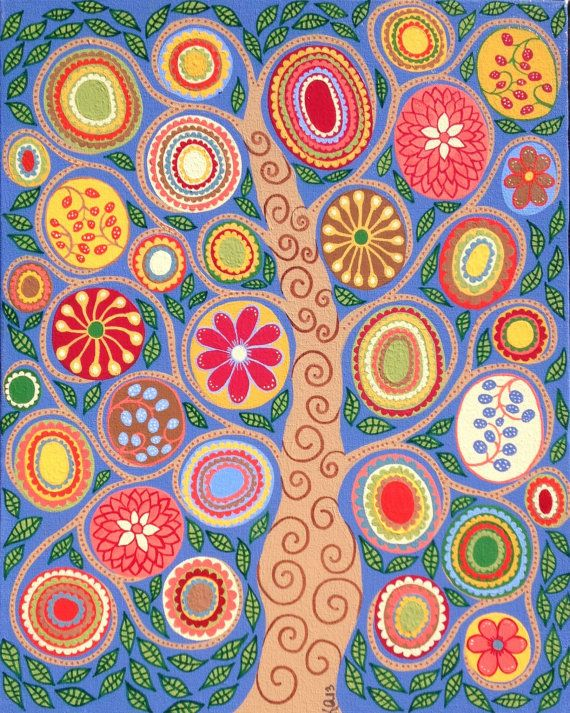 Kerri Ambrosino Art NEEDLEPOINT Mexican Folk Art  Tree of Life Flowers Leaves Golden Blue on Etsy, $22.99