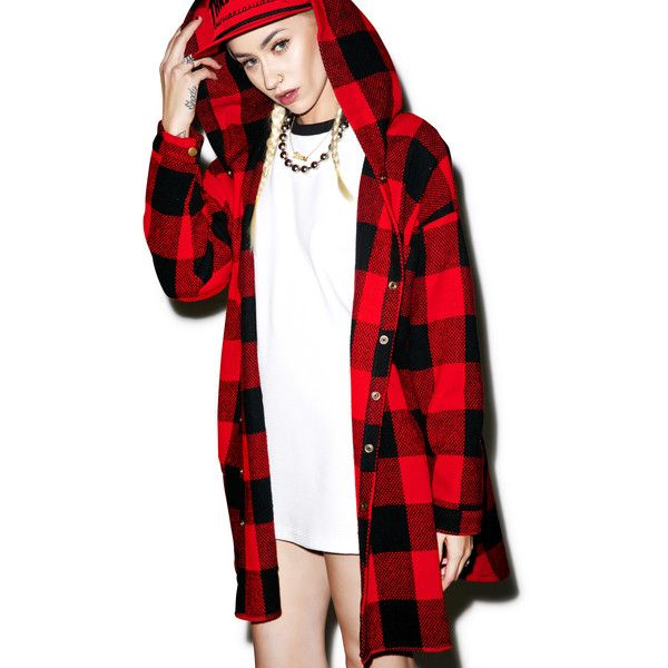 Hunter Hooded Flannel ($55) ❤ liked on Polyvore featuring tops, long sleeve tops, plaid flannel shirt, flannel shirt, red shirt and plaid shirt
