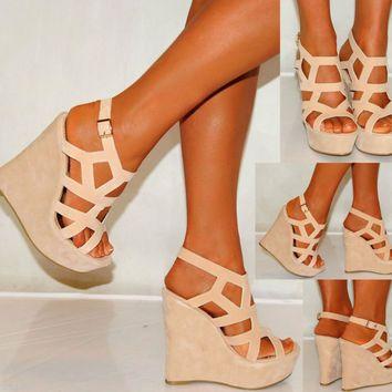 Women Nude Beige Tan Suede Wedges Wedges Summer Strappy Platforms High Heels