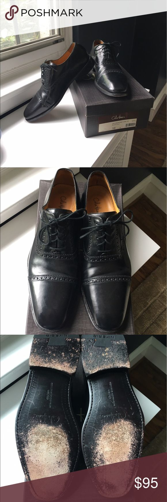 Cole Haan Air Geoffrey Black Cap Toe Shoes In excellent condition! Only worn a few times! Size 10 Cole Haan Air Greoffrey dress shoes! Very comfortable. Also have Mahogany ones for sale!  See closet. Cole Haan Shoes Oxfords & Derbys