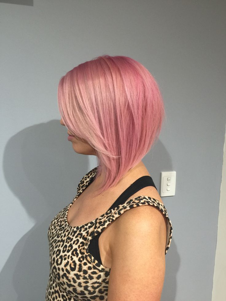 Pastel pink concave bob hairstyle