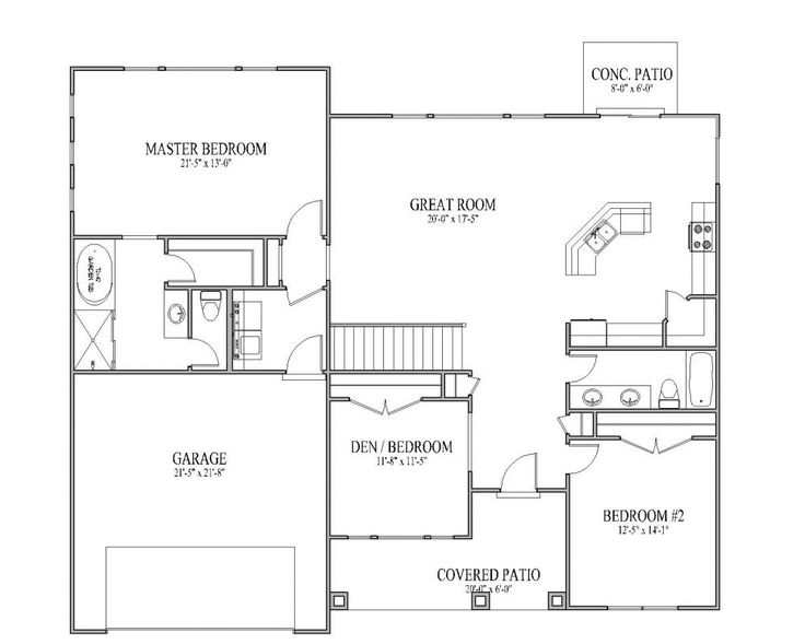 Simple small house floor plans the sadona floor plan for Simple house plans with garage