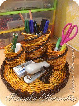 Поделка изделие Плетение Органайзер Бумага Трубочки бумажные фото 1