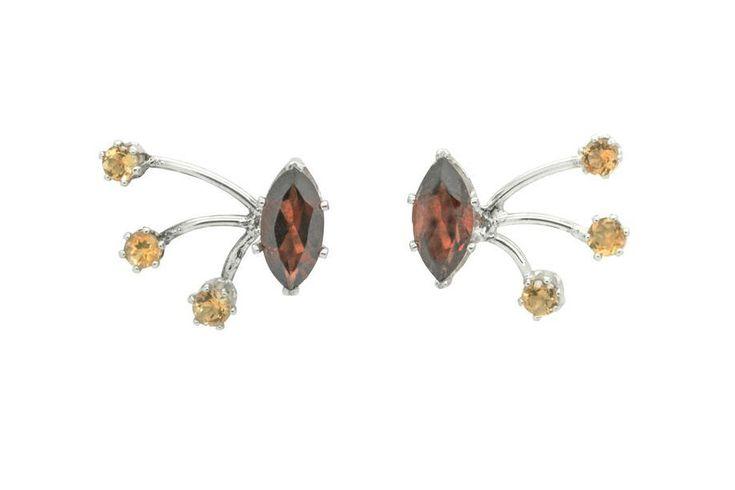 Magic & Firework Stud earrings, Garnet and Citrine by ElizabethEverettJ on Etsy