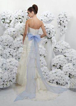 ivoire et turquoise châssis bretelles robes de mariage de conception de couleur