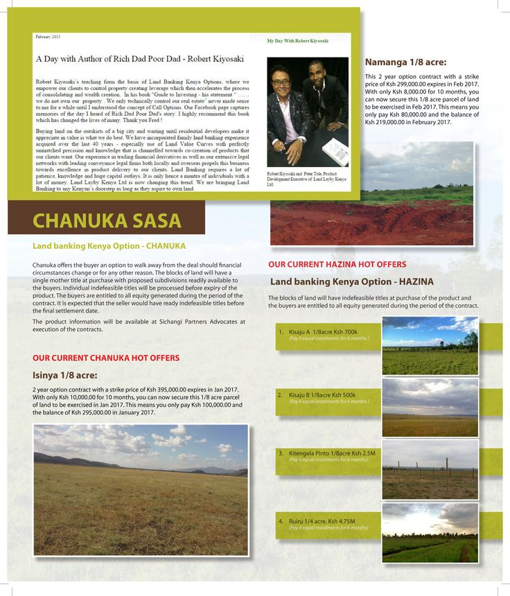 Chanuka Sasa, a new land Banking initiative in Kenya. You can now control to own land without bank loans
