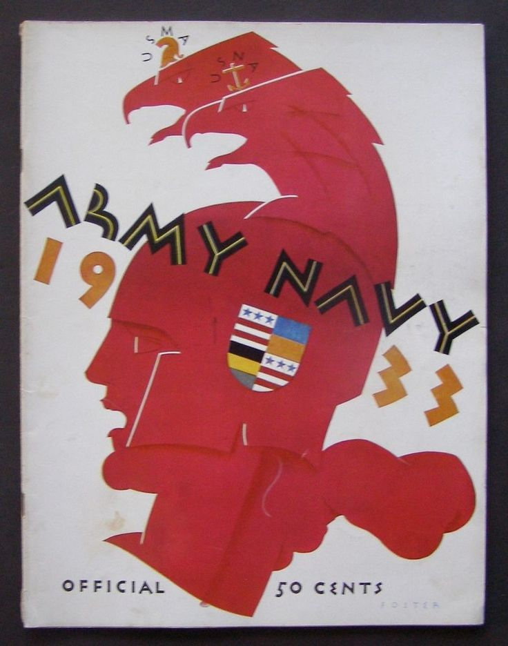 1933 Unbeaten ARMY vs. NAVY Early College FOOTBALL PROGRAM-Art Deco Cover