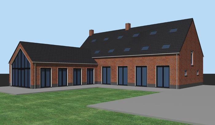 Verbouwing van een bestaande boerderij uit 1920 in Tilburg. Nieuwe zwarte aluminium kozijnen in witte kaders.
