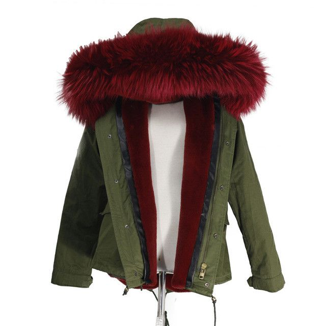 New 2017 Lady Parkas Female Jacket Real Large Raccoon Fur Winter Coat Women Jacket Coats Collar Thicken Warm Padded Cotton D003