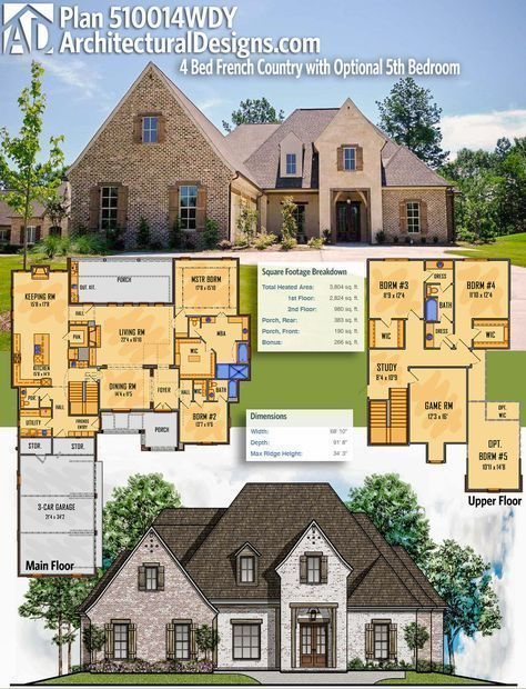 Architectural Designs Acadian House Plan 510014WDY gives you 4 bedrooms with options for a 5th. The home has over 3,800 square feet of heated living space. More pictures online. Ready when you are. Where do YOU want to build?