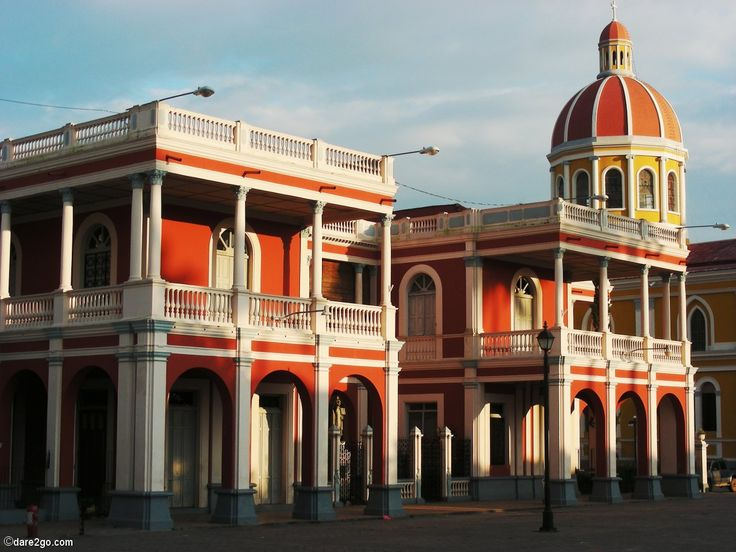 Sunset illuminates cathedral and bishop's residence in #Granada in #Nicaragua